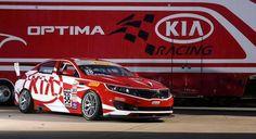 Kia Racing Announces Driver Lineup for 2015 Pirelli World Challenge Season Kia Optima Turbo, Kia Motors, Korean Brands, Racing News, Checkered Flag, Paint Schemes, Old Cars, Grand Prix, Race Cars