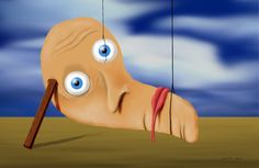 """A Surrealism canvas print of """"The Melting Face"""" influence by Dali's melting clock."""