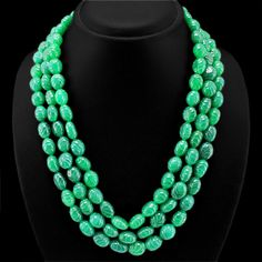Genuine 868.00 Cts Green Emerald Carved Beads Necklace. Starting at $1