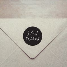 Custom Wedding Initials and Date Rubber Stamp with Wooden Handle. £22.10, via Etsy.