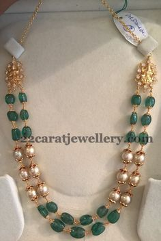 2 to 3 Layers Beads Sets - Jewellery Designs Gold Jewellery Design, Bead Jewellery, Beaded Jewelry, Jewelery, Pearl Jewelry, Pearl Necklace Designs, Gold Necklace, Emerald Jewelry, Gold Jewelry Simple