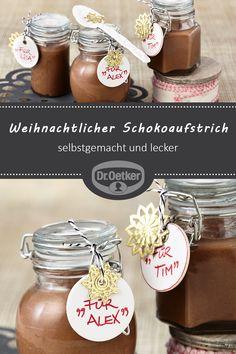Weihnachtlicher Schokoaufstrich - New Ideas Chocolate Spread, Chocolate Hazelnut, Christmas Feeling, Hazelnut Spread, Christmas Chocolate, Nutella, Diy Gifts, Diy And Crafts, Sweets