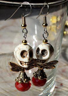 Day of the Dead   Red Sugar Skull earrings
