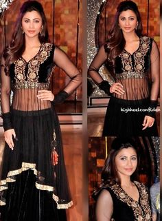 Daisy Shah Designer Lehnga Choli In Black . Shop at -  http://www.gravity-fashion.com/daisy-shah-designer-lehnga-choli-in-black.html