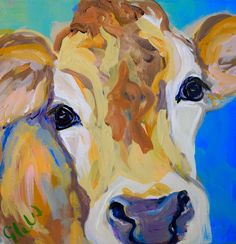 Artist: Elizabeth Warner Dimensions: Original Animal - Cow Medium: Acrylic Surface: Canvas For more information email us at christenberrycoll. Cow Painting, Painting & Drawing, Cow Pictures, Cow Pics, Farm Art, Cow Art, Animal Paintings, Painting Inspiration, Amazing Art