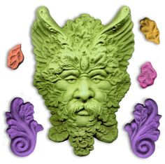 Get your Green Man mold today at Poly Clay Play! Polymer Clay Ornaments, Polymer Clay Tools, Polymer Clay Figures, Polymer Clay Sculptures, Sculpture Clay, Magic Crafts, Clay Crafts, Holly King, Tree Faces