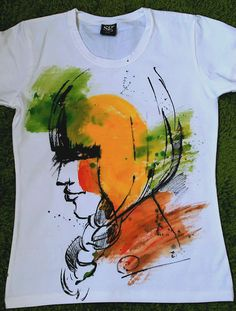Woman in Profile Watercolor tshirt. Art by palettePandora on Etsy