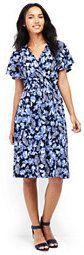 Lands' End Women's Petite Flutter Sleeve Surplice Dress-Moonlight Navy Floral