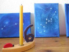 Waldorf art. 12 Zodiac Constellations. Original miniature paintings. Oil on mini canvas. Aries, Taurus, Gemini, Cancer, Leo, Virgo....