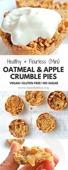 Healthy apple crumble with oats! You'd never guess all these mini apple pies are sweetened with just 1 tbsp honey and made without any flour, but oats & nuts! This is a very delicious plant-based, healthy apple dessert recipe, that you can also eat for breakfast. It's vegan, gluten-free (if you use gf oats), high-fiber, refined sugar-free - a delicious clean eating dessert recipe.
