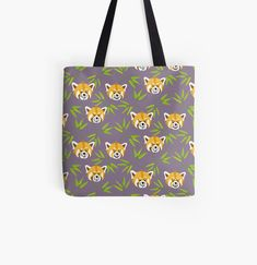 'Red Panda in a bamboo forest' Tote Bag by JaanaHalme Designer Totes, Red Panda, Iphone Wallet, Bamboo, Reusable Tote Bags, Art Prints, Canvas, Printed, Awesome