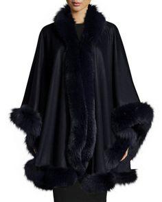 Sofia Cashmere Fox Fur-Trimmed Cashmere U-Cape Luxury Gifts For Men, Cashmere Cape, Black Poncho, Colourful Outfits, Fox Fur, Fur Trim, Clothes For Women, Capes, Fur Jackets