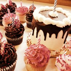 Birthday cake and cupcake surprise