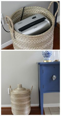 The best paper clutter solution Storage Basket with Lid Perfect for Hiding a paper shredder #cluttercontrol