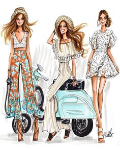 Somewhere in positano illustration by jen lublin design mode Fashion Design Sketchbook, Fashion Design Drawings, Fashion Sketches, Moda Fashion, Fashion Art, Girl Fashion, Fashion Dresses, Italy Fashion, Moda Chic