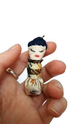 Steampunk sequin creature pendant - fabric pendant - tiny creature - cute necklace - quirky pendant - cute pendant -creature cha