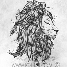 Poetic Lion B&W #loujah #art #illustration... - LouJah