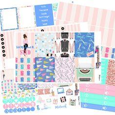 Rosa juego de pegatinas de las señoras, señoras rosa semanal juego de pegatinas, kit vertical CE, juego de pegatinas de planificador, pegatinas de planificador