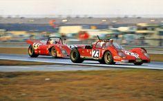 Ferrari Friday … drop the top the NART Ferrari 512S Spyder of Ronnie Bucknum & Tony Adamowicz leading the NART Ferrari 312P of Nestor Garcia-Veiga, Luigi Chinetti Jr. & Alain de...