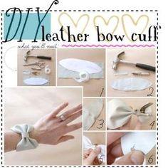 diy leather bow cuff by Raelynn8