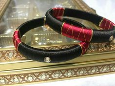 Red and brown colour silkthread bangles Silk Thread Bangles Design, Silk Bangles, Bridal Bangles, Thread Jewellery, Textile Jewelry, Fabric Jewelry, Jewellery Diy, Bangles Making, Diy Jewelry Inspiration