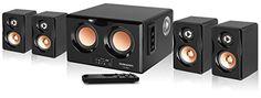 Durherm DS-R4 Dual Woofer Piano Finish Home Theater/PC/Desktop/Laptop Speaker Audio System with USB/SD and Wireless Remote