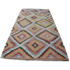 Vintage Turkish Kilim Rug - 5′4″ × 10′7″ ($1,950) ❤ liked on Polyvore featuring home, rugs, contemporary handmade rugs, hand crafted rugs, handmade wool rugs, hand loomed wool rug, hand woven wool area rugs and wool area rugs
