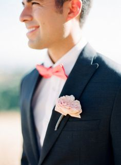groom in navy with pops of pink Photography by cocotranphotography.com | Florals by http://www.vofloraldesign.com/home-page | Read more - http://www.stylemepretty.com/2013/08/05/summer-inspired-photo-shoot-from-coco-tran-photography/