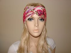 Floral Turban Headband Pink Purple Coral  Yoga by OtiliaBoutique, $15.00