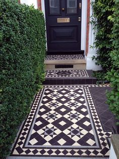 Curb Appeal: Black-and-White Mosaic Tile from London with Love Victorian Mosaic tile path London Curb Appeal ; Gardenista The post Curb Appeal: Black-and-White Mosaic Tile from London with Love appeared first on Outdoor Ideas. Victorian Front Garden, Victorian Front Doors, Victorian Hallway, Victorian Terrace Interior, Victorian Porch, House With Porch, House Front, Victorian Mosaic Tile, Front Path