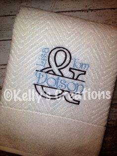 Embroidery Ideas, Embroidery Applique, Machine Embroidery, Monogram Towels, Wedding Gifts, Wedding Ideas, Monograms, Bath Towels, Appliques