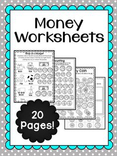 Money Worksheets: Includes 8 unique worksheets (some are double sided) for students to use when learning more about money. Color and black and white line versions are included for all worksheets. Topics include shopping on a budget, connecting coin images to their correct word, coloring by coin, graphing, counting coins, and much more.