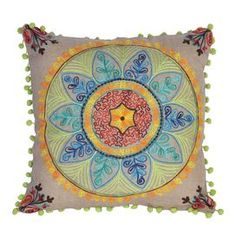 Handcrafted burlap cushion with a multicolor floral medallion motif. Product: Cushion Construction Material: Burlap Color: Multi   Features: Insert included Dimensions: 18 x 18        Cleaning and Care: Spot clean