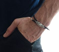 "Pulseras y brazaletes - leather bracelet - ""Man"" - hecho a mano por NorArt en DaWanda #moda #hombre #modamasculina #bisuteríahombre #pulserashombre #DaWanda #fashion  #hechoamano #diseño #handmade #DIY"