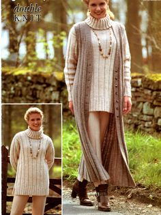 Welcome to heritage patterns.  for sale is a Digital download of a long waistcoat and polo neck sweater dk knitting pattern  to fit bust sizes 81 to 117 cm 32 to 46 inches    TOOLS NEEDED  pair of uk 10 and uk 8 knitting needles    all our patterns are water marked but are still very easy to read.