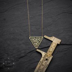 Triangle necklace geometric  sacred necklace escher by ByYaeli
