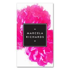 A beautiful watercolor illustration of bright pink peony flowers makes a great impression on this classically elegant business card template. Watercolor illustration & design © 1201AM CREATIVE