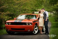 A sports car  makes for fun engagement photos.  Image by Louisville Wedding Photographer David Blair.