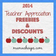 2014 Teacher Appreciation Freebies and Discounts