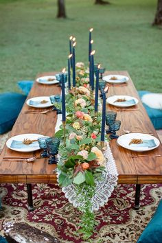 This is for a wedding but I love the blue glasses matching the napkins and the simplicity.