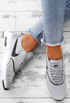 Sequin Sky Rose Gold Glitter Slip On Trainers Nike Air Max Thea Grey Trainers Nike Air Max Thea Grau, Nike Thea, Gray Nike Shoes, Grey Nikes, Nike Free Shoes, Legging Outfits, Cute Shoes, Me Too Shoes, Sneaker Women