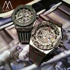 Hublot Big Bang Unico Ferrari. On the right its the beautiful titanium carbon limited to 1000 pieces and on the top left is the stunning grey ceramic, limited to 250 pieces. Both 45mm case.