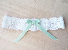 Mint Green bow on Lace Garter - NEW 2013 on Etsy, $19.97 AUD