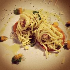 spaghetti with pumpkin, ginger and lotus