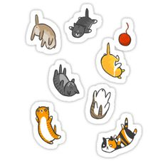 """Kitten Rain"" Stickers by Damien Mason Tumblr Stickers, Anime Stickers, Laptop Stickers, Cute Stickers, Cactus Stickers, Cat Scratching Post, Journal Stickers, Printable Stickers, Stationary Printable"