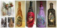 Aprende cómo decorar botellas de vidrio con medias nylon o telas de todo tipo ~ Mimundomanual Wine Bottle Crafts, Bottle Art, Biscuit, Diy And Crafts, Decoupage, Glass Art, Projects To Try, Lily, Holiday Decor