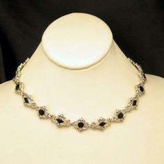 Mid Century Art Deco Style Faux Onyx Vintage Necklace Filigree Links Silver Plated #MyClassicJewelry