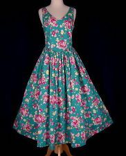 Laura Ashley US 8 Vintage Dress Teal Green Pink Roses Garden Tea Great Britain