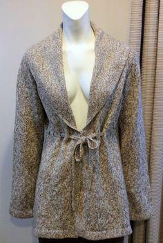 $30.00 Motherhood Maternity Small 4 6 Brown Fleck Long Sleeve Sweater Cardigan Belt Tie | eBay