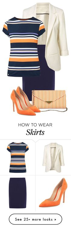 """Skirt & Stripes"" featuring Diane Von Furstenberg, Ted Baker, Sole Society and Gianvito Rossi.LOVE the orange striped bag! Work Fashion, Modest Fashion, Fashion Looks, Fashion Outfits, Fashion Tips, Business Outfits, Business Attire, Business Fashion, Ted Baker"